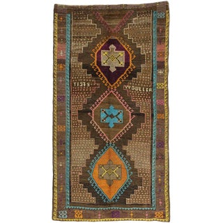 "Vintage Turkish Oushak Wool Gallery Runner Rug - 6'2"" X 11'4"" For Sale"