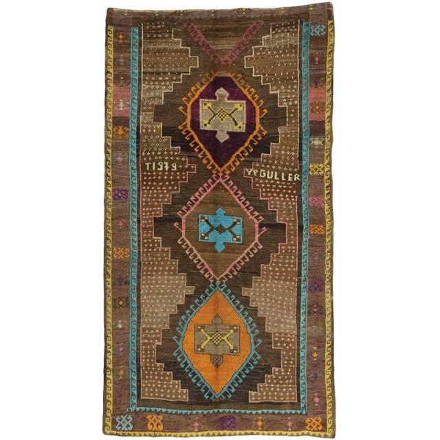 "Vintage Turkish Oushak Wool Gallery Runner Rug - 6'2"" X 11'4"" For Sale"