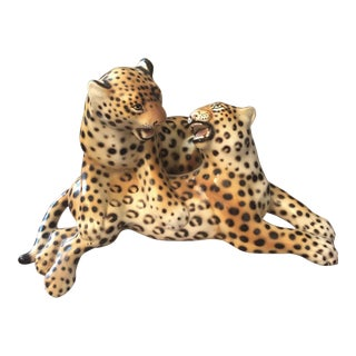 Antique Italian Ceramic Cheetahs Figurine For Sale