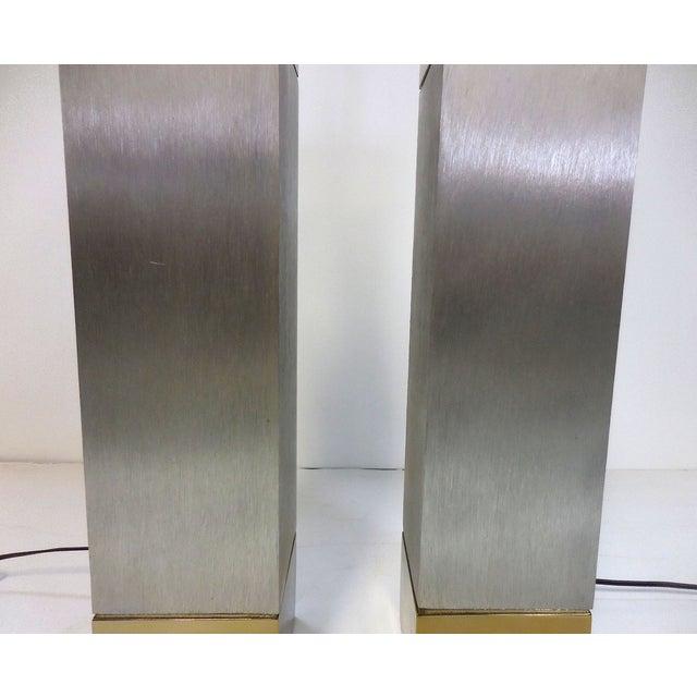 Laurel Brushed Aluminum & Brass Lamps - A Pair - Image 6 of 9