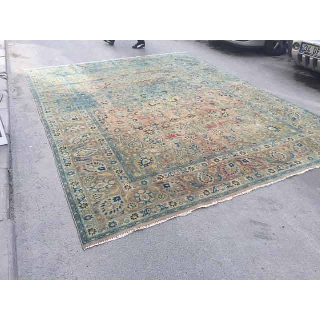 Art Deco Persian Tribal Overize Handwoven Beige Floor Rug - 9′6″ × 12′5″ For Sale - Image 3 of 11