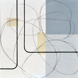 Maura Segal Intersections Gray White Modern Painting 2018 For Sale