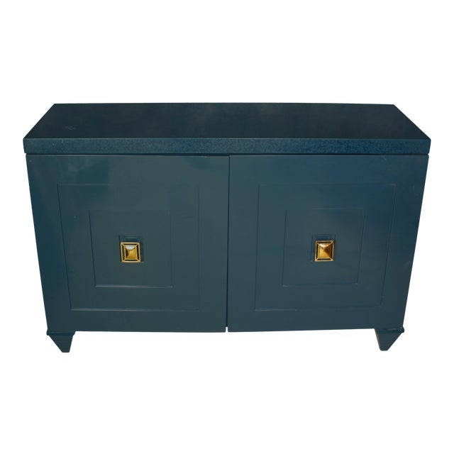 Modern Navy Lacquered Wood Serving Cabinet with Brass Knobs For Sale