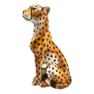 Vintage Large Italian Leopard Figurine For Sale