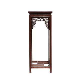 Chinese Oriental Square Brown Stain Plant Stand Pedestal Table For Sale