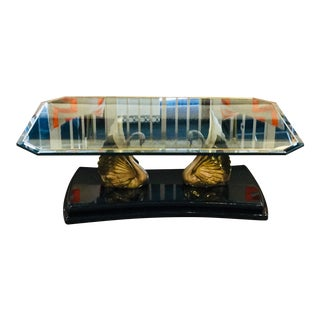 1970s Brass Swan Coffee Table For Sale