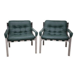 Milo Baughman Style Chrome and Leather Chairs - a Pair