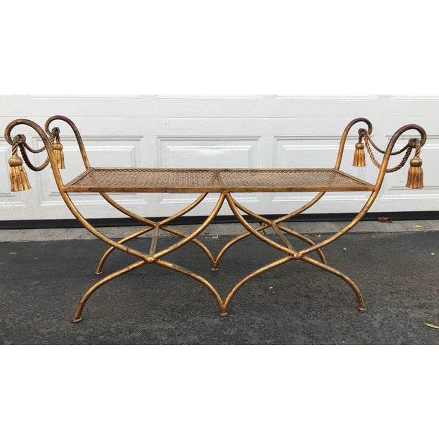 Italian Gilt Metal Rope and Tassel Double X Base Bench - Image 9 of 9