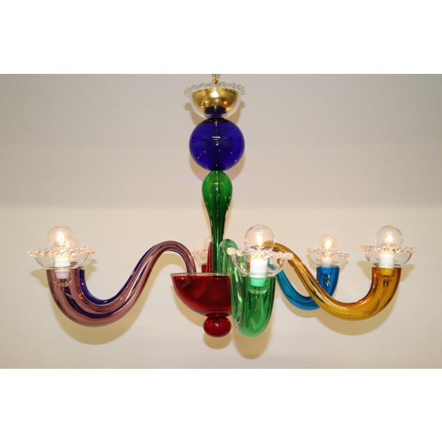 Glass Vintage Primary Color Mid-Century Modern Murano Glass Chandelier For Sale - Image 7 of 13