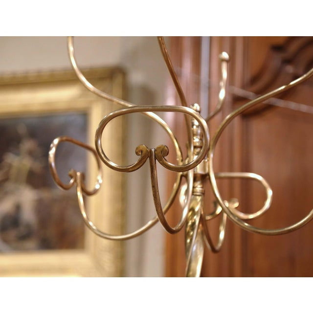 Mid-Century French Gilt Brass Swivel Four Hat-Coat Hooks Hall Tree For Sale - Image 4 of 10