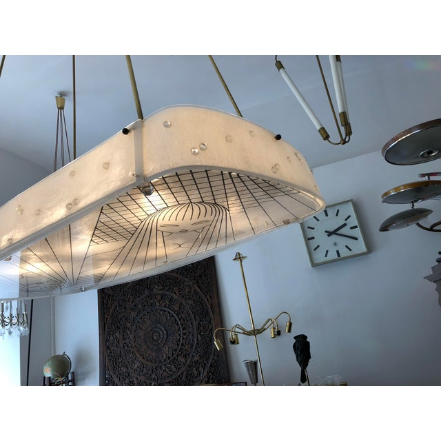 Beautiful Midcentury Chandelier With Handmade Shades For Sale - Image 4 of 12
