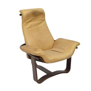 Danish Modern Sling Leather Lounge Chair For Sale