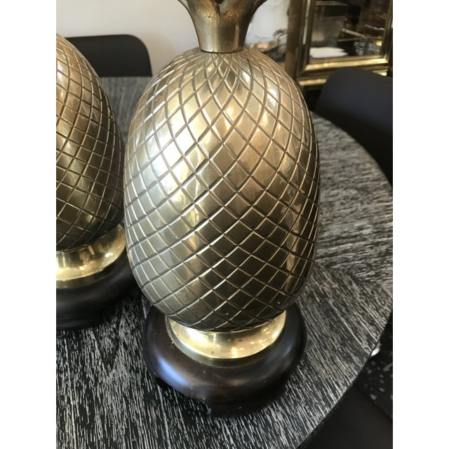 Pair of Frederick Cooper Brass Pineapple Lamps For Sale In New York - Image 6 of 7