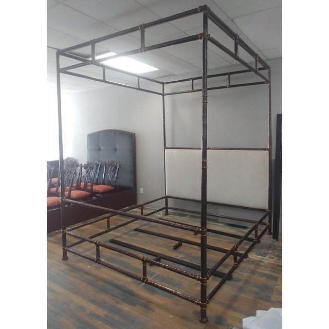 Henredon Furniture Jeffrey Bilhuber Hammered Metal Bank St Queen Canopy Bed For Sale - Image 11 of 12