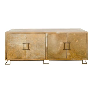 Mid-Century Modern Parchment Credenza in the Manner of James Mont-Floor Sample For Sale