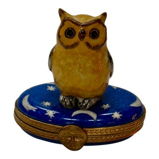 1990s French Hand Painted Owl & Stars Moon Box For Sale