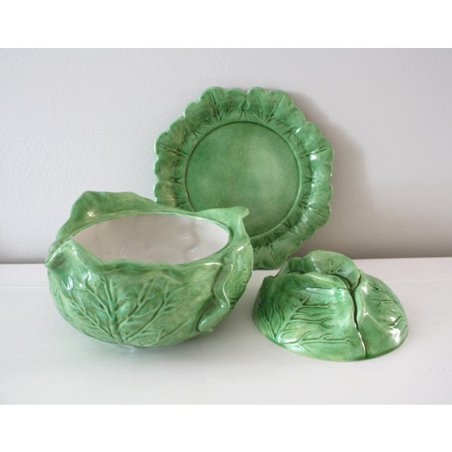 Ceramic Vintage Majolica Style Cabbage Tureen Covered Bowl with Saucer Set For Sale - Image 7 of 9