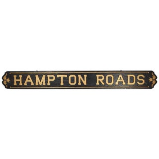 """Hampton Roads"" Wood Sign For Sale"