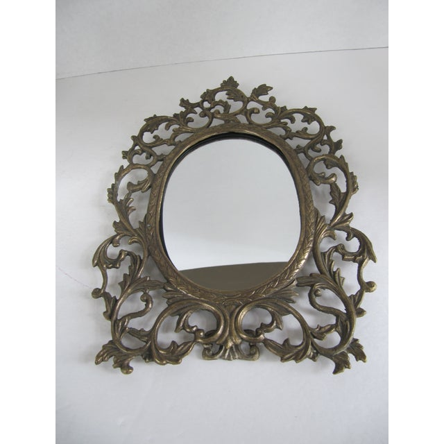 Brass Scroll Vanity Mirror For Sale - Image 6 of 6