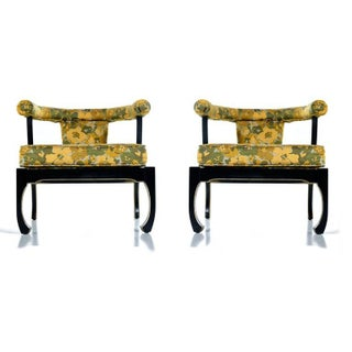 James Mont Style Black Lacquer Gilt Asian Modern Chinoiserie Armchairs by Harris Preview