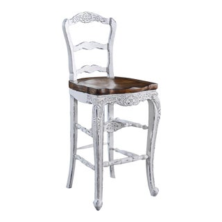 Bar Stool French Country Whitewash Rustic Pecan For Sale