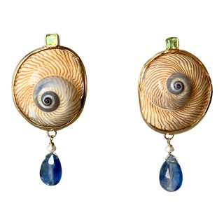 14-Karat Gold, Shark Eye Shell, Topaz Earrings For Sale