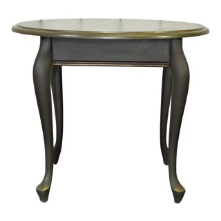 Late 20th Century Queen Anne Olive Green Side Table