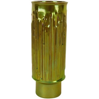 Modernist Zsolnay Pecs Vase With Metallic Green and Gold Eosin Glaze For Sale