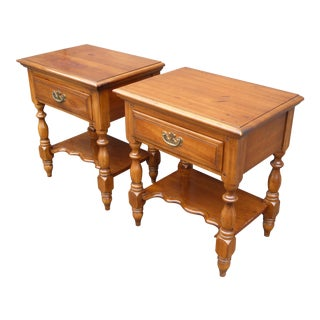 Vintage Pair of French Country Nightstands by Kling Solid Cherrywood End Tables For Sale