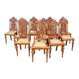 Image of Early 20th Century Spanish Revival Dining Chairs in Oak - Set of 10 For Sale
