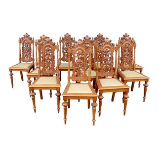 Early 20th Century Spanish Revival Dining Chairs in Oak - Set of 10 For Sale