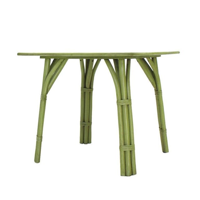 Square Game Table and Four Chairs Green Faux Bamboo Rattan For Sale - Image 4 of 11
