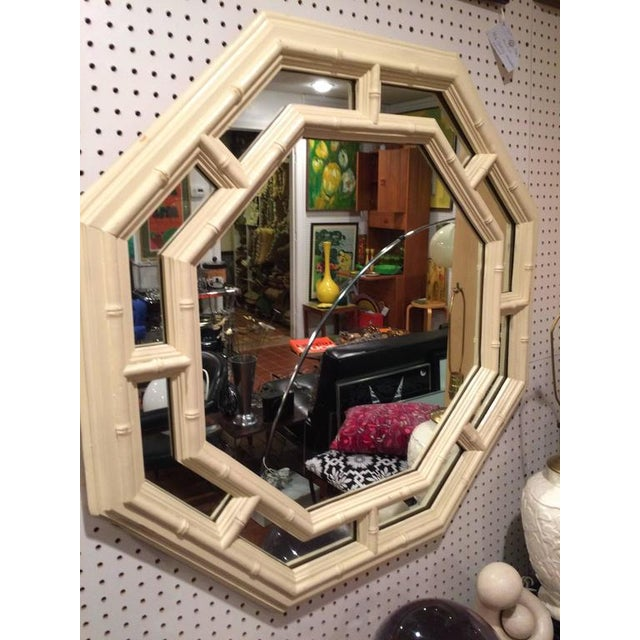 Faux Bamboo Hollywood Regency Octagonal Mirror For Sale - Image 4 of 11