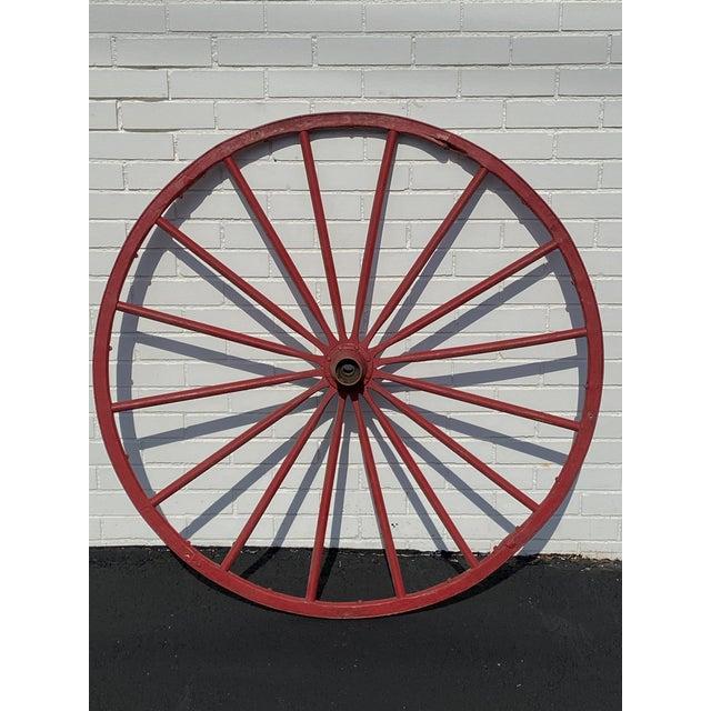 "Metal Antique Red Wooden Wagon Wheel 43"" Diameter 16 Spoke Nice For Sale - Image 7 of 8"