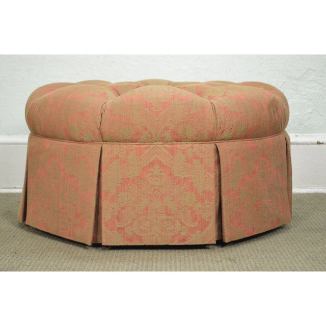 Textile Custom Upholstered Round Tufted Ottoman For Sale - Image 7 of 11