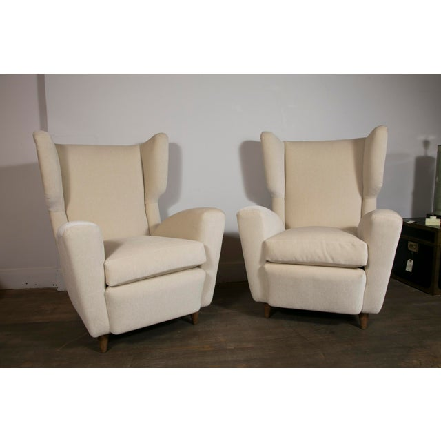 Pair of Wingback Chairs, Italy, 1950's For Sale - Image 10 of 10