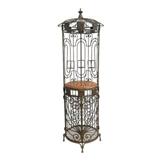 Iron and Marble Birdcage Style Wine Rack Bar For Sale
