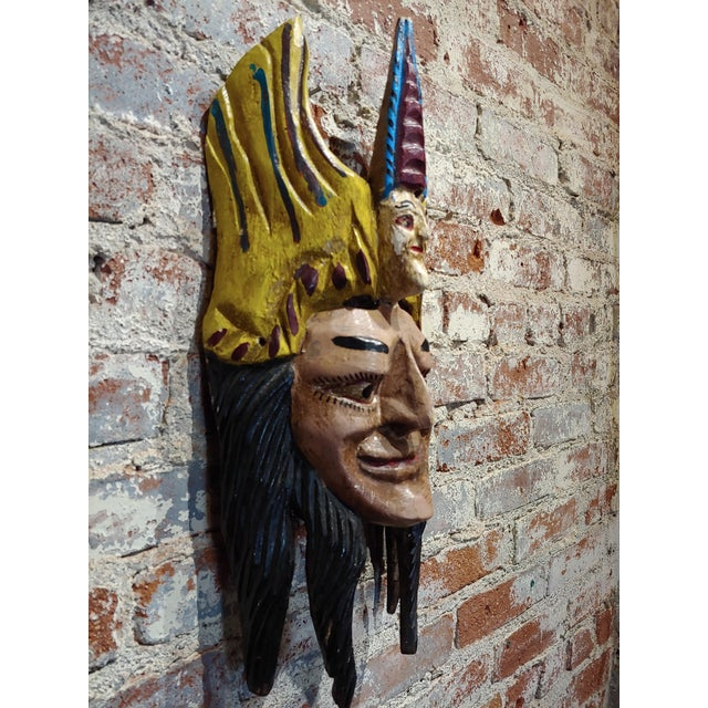 Mexican Mask -Antique Painted Wood Carved For Sale - Image 4 of 9