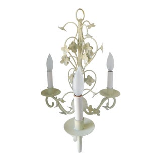 Vintage 1950s Cream Tole Floral Three Sleeve Chandelier For Sale
