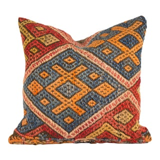 20th Century Bohemian Handwoven Multi-Colored Wool Pillow For Sale