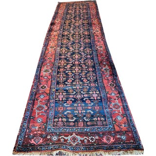 Antique Persian Bidjar Hallway Runner Rug - 3′4″ × 16′4″ For Sale