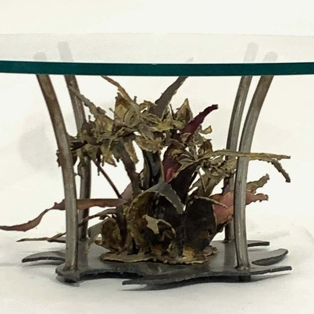 Mid-Century Modern Silas Seandal Studio Brutalist Bloom Welded Bronze, Steel, & Copper Coffee Table For Sale - Image 3 of 13