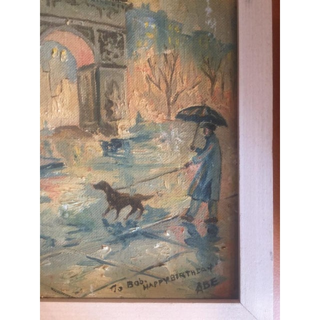 Mid 20th Century Landscape Painting of Washington Square Park in the Rain For Sale - Image 4 of 6