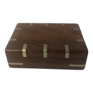 Modernist Walnut Lidded Box With Silver Inlay For Sale