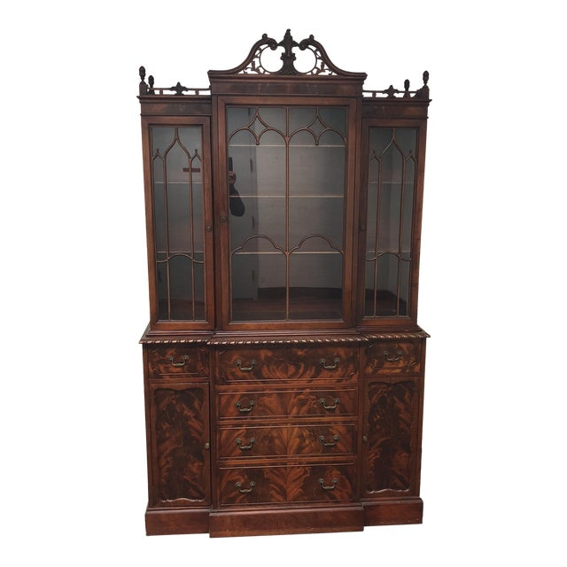 Antique Mahogany Breakfront Cabinet - Antique Mahogany Breakfront Cabinet Chairish