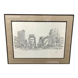 """Times Square, NYC 1978"" Signed and Numbered Line Drawing by Richard Welling For Sale"