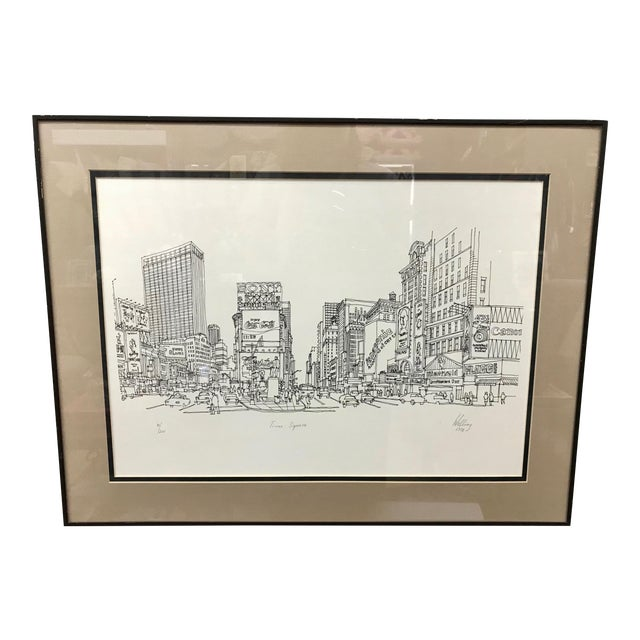 """""""Times Square, NYC 1978"""" Signed and Numbered Line Drawing by Richard Welling For Sale"""