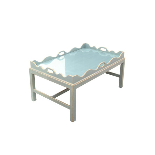 Mission Avenue Studio Shabby Chic Lexington Scalloped Cocktail Tray Table For Sale - Image 4 of 7