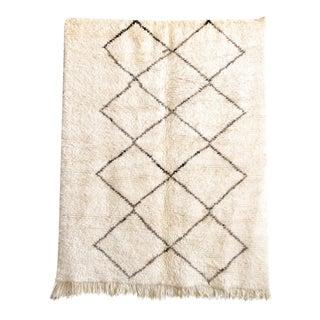"Vintage Moroccan Beni Ourain Floor Rug - 5'4"" x 6'9"""