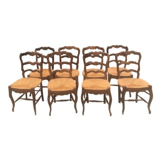 Walnut French Chairs With Hand Rush Seats - Set of 8 For Sale